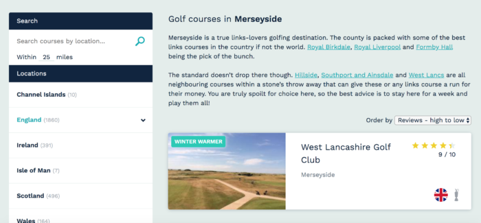 Example of hot deals functionality on the goandgolf website