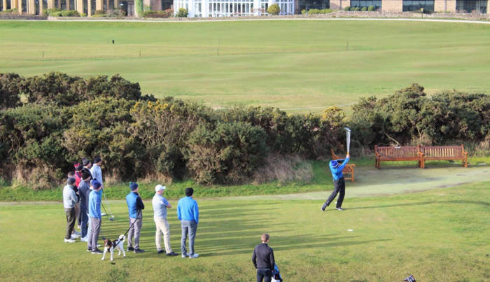 Teeing off on the first tee at St Andrews New Course