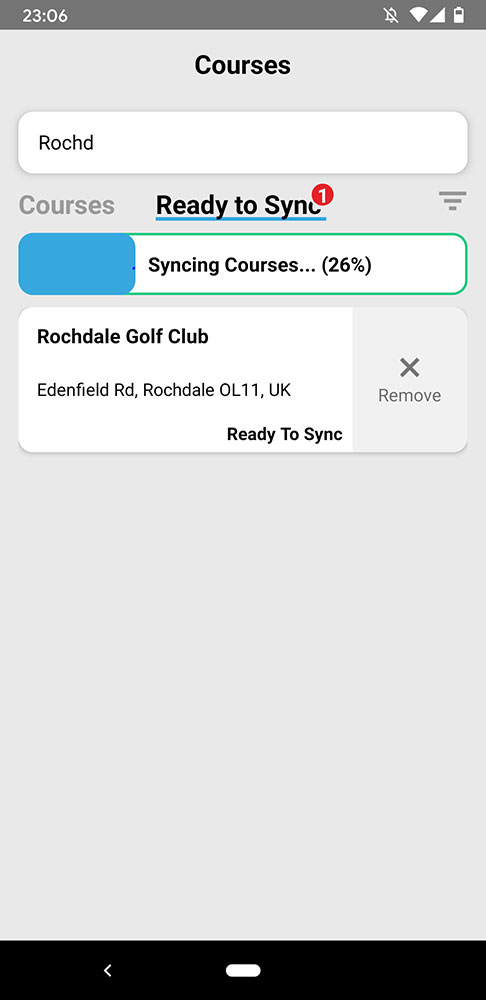 course downloading and syncing on the shot scope v2