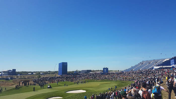 Crowds at the 2018 Ryder Cup in Paris on the 9th hole at Le Golf Nationale